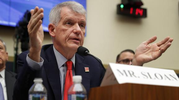 WASHINGTON, DC - MARCH 12: Wells Fargo and Company CEO Timothy Sloan testifies before the House Financial Services Committee in the Rayburn House Office Building on Capitol Hill March 12, 2019 in Washington, DC. Sloan answered questions from committee members about his leadership of the 166-year-old bank following the disclosure that staff had created millions of fake bank accounts in order to hit their high-pressure goals. (Photo by Chip Somodevilla/Getty Images)
