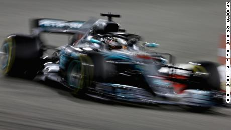 Lewis Hamilton' s Mercedes AMG on track during the 2018 Bahrain Grand Prix.