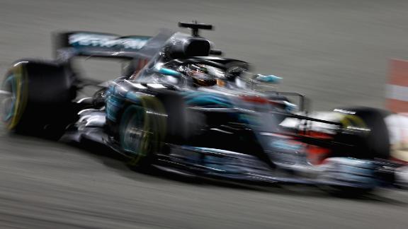 Lewis Hamilton' s Mercedes AMG on track during the 2018 Bahrain Grand Prix.