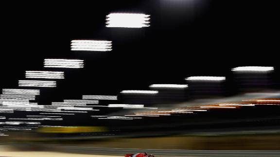 Sebastian Vettel drives his Ferrari en route to winning of the 2018 Bahrain Grand Prix.