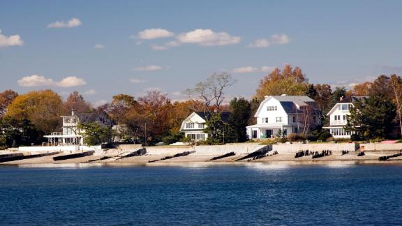 Houses by the sea near Compo Beach, CT, USA