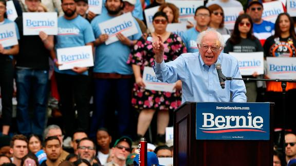 Democratic presidential candidate Sen. Bernie Sanders speaks at a rally at Grand Park in Los Angeles on Saturday, March 23, 2019. The Vermont senator made a notable, second-place finish in California