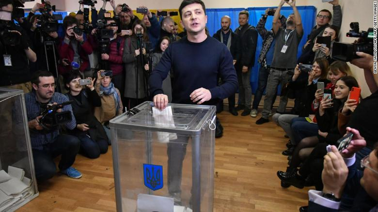 Zelensky casts his ballot in the first round of voting in April