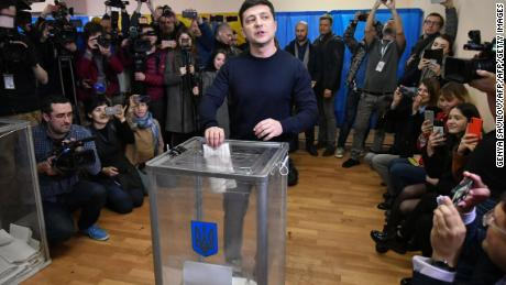 Ukrainian comedian and presidential candidate Volodymyr Zelensky casts his ballot on Sunday.