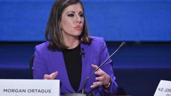 Moderator Morgan Ortagus speaks during the panel 'Economu and Trade: Colombia in the Global Spotlight' as part of the 2018 Concordia Americas Summit day 2 at Agora Bogota Convention Center on July 17, 2018 in Bogota, Colombia.