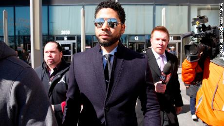 Actor Jussie Smollett leaves the Leighton Courthouse after his court appearance on March 26, 2019 in Chicago, Illinois. This morning in court it was announced that all charges were dropped against the actor.  (Photo by Nuccio DiNuzzo/Getty Images)