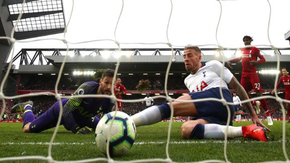 Toby Alderweireld is unable to stop the ball crossing the line for Liverpool