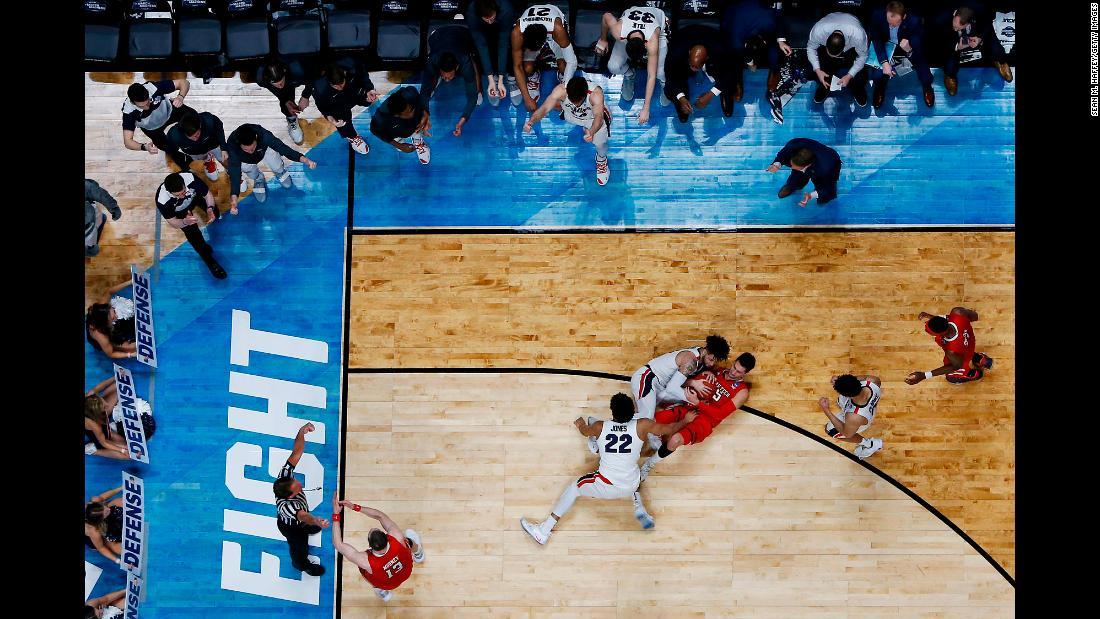 "Davide Moretti of the Texas Tech Red Raiders fights for the ball with Josh Perkins and Jeremy Jones of the Gonzaga Bulldogs late in the second half of their Elite Eight matchup in the 2019 NCAA Men's Basketball Tournament at Honda Center on March 30. The Red Raiders defeated the Bulldogs to <a href=""https://bleacherreport.com/articles/2828634-jarrett-culver-no-3-texas-tech-upset-no-1-gonzaga-to-advance-to-final-four"" target=""_blank"">advance to the Final Four</a> for the first time in program history."