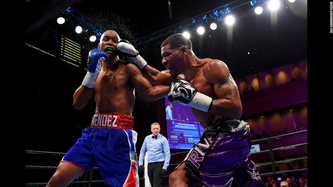 Anthony Peterson punches Argenis Mendez during their super lightweight fight at The Theater at MGM National Harbor in Oxon Hill, Maryland, on March 24.