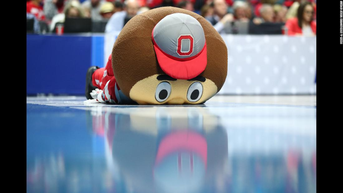 The Ohio State mascot Brutus Buckeye reacts on the court during a stoppage in play during the 2019 NCAA Tournament at BOK Center in Tulsa, Oklahoma, on March 24.