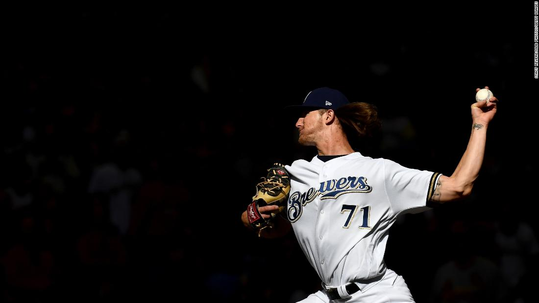 Josh Hader of the Milwaukee Brewers pitches during a game against the St. Louis Cardinals at Miller Park in Milwaukee on Thursday, March 28.