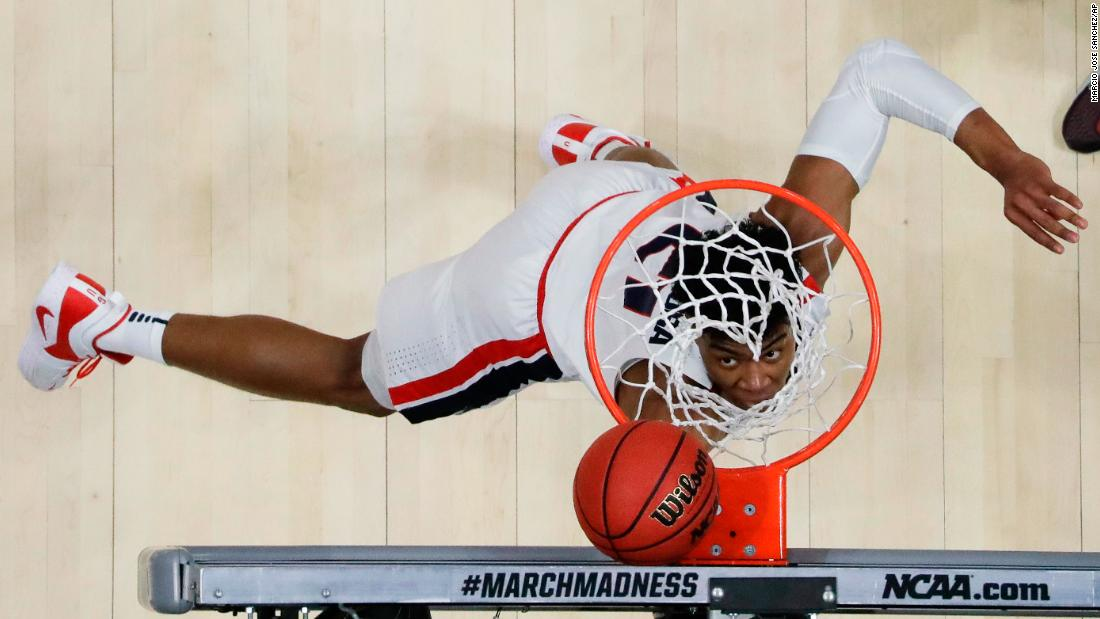 Gonzaga forward Rui Hachimura scores against Texas Tech during the first half of a men's NCAA Tournament college basketball West Regional final game on Saturday, March 30, in Anaheim, California.