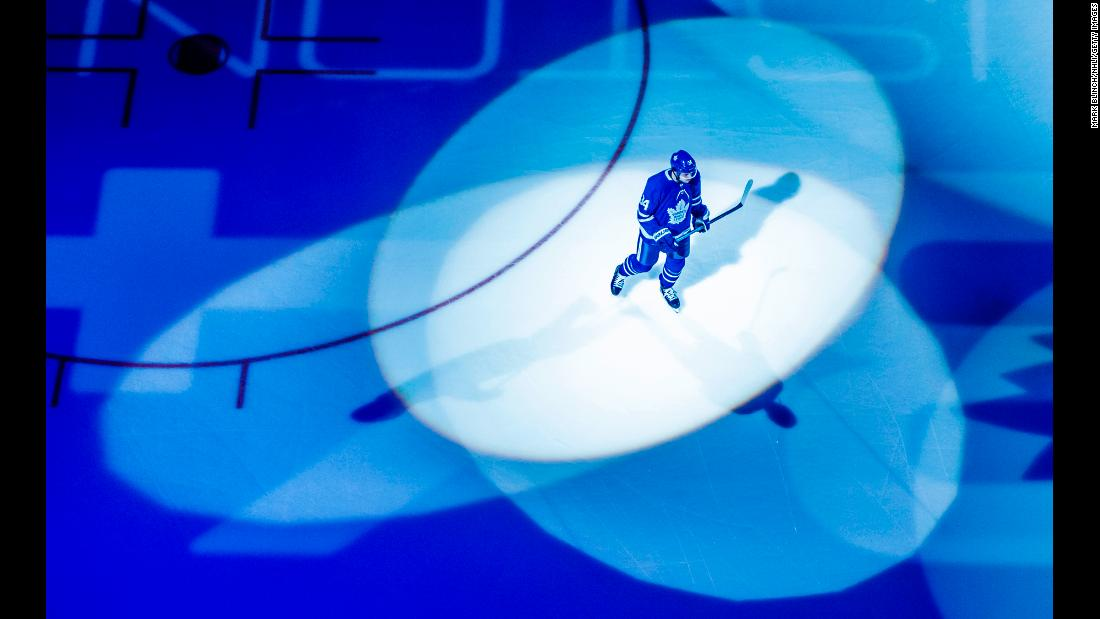 Auston Matthews of the Toronto Maple Leafs skates on the ice in Tornonto before a game against the Florida Panthers on March 25.