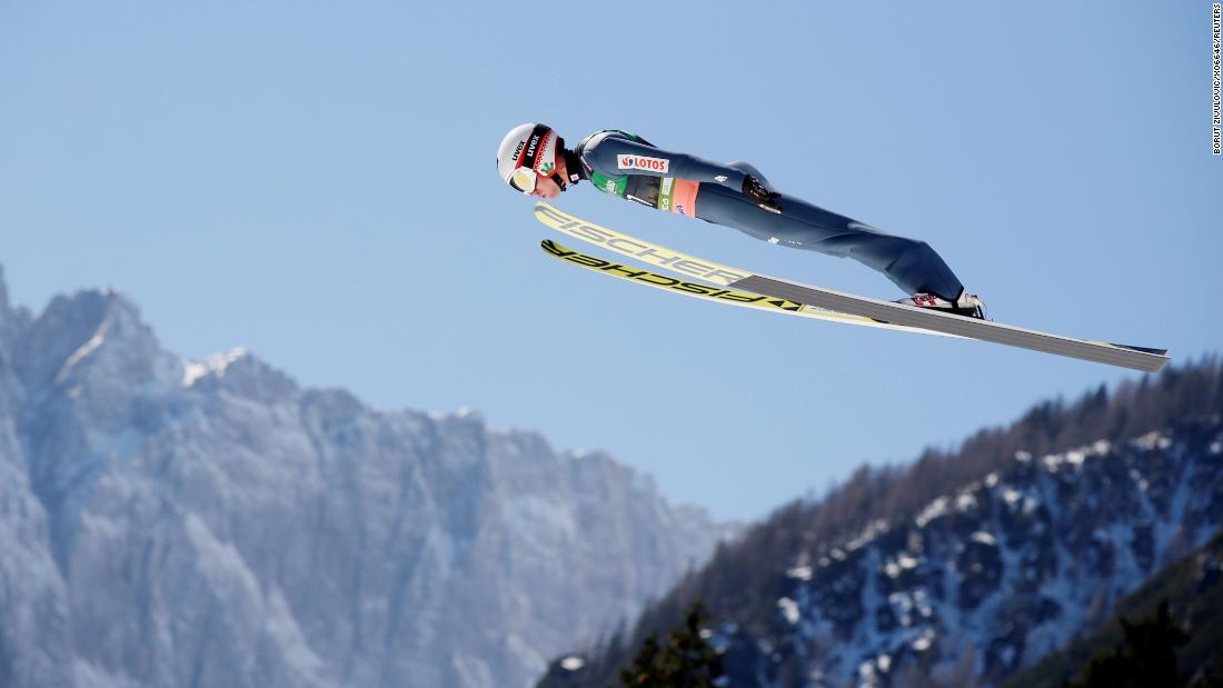 Kamil Stoch of Poland competes in the men's FIS Ski Jumping World Cup Finals in Planica, Slovenia, on March 24.