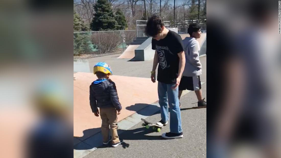 A group of teens taught a 5-year-old boy with autism how to ride a skateboard on his birthday