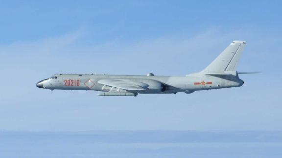 Chinese H-6K bomber flying over the Miyako Strait in Japan