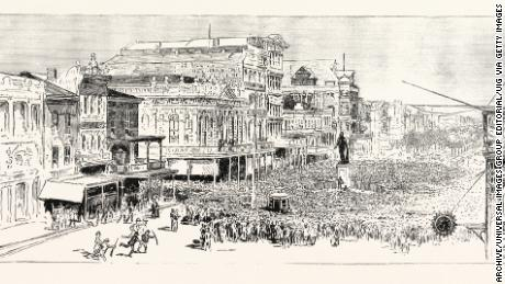 "An artist's sketch depicts the mob that gathered in New Orleans in 1891 to ""avenge"" the police commissioner's murder."