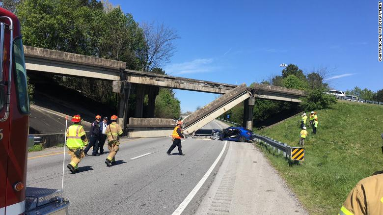 A section of concrete fell from a bridge in Chattanooga, Tennessee, on Monday, shutting down two interstate ramps.