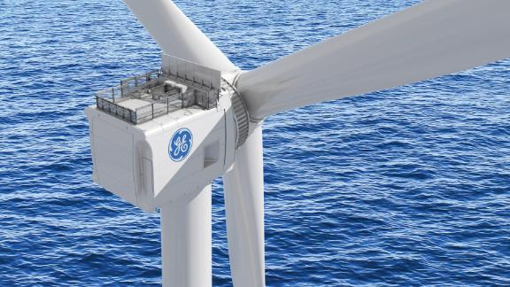 An illustration shows the GE Haliade-X offshore wind turbine, which GE plans to install in the Netherlands this summer. The company is aiming to ship its first commercial units in 2021.