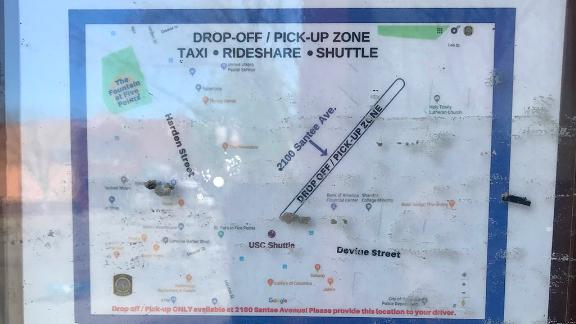 Ridesharing guidelines and tips were placed on business windows in downtown Columbia, South Carolina.