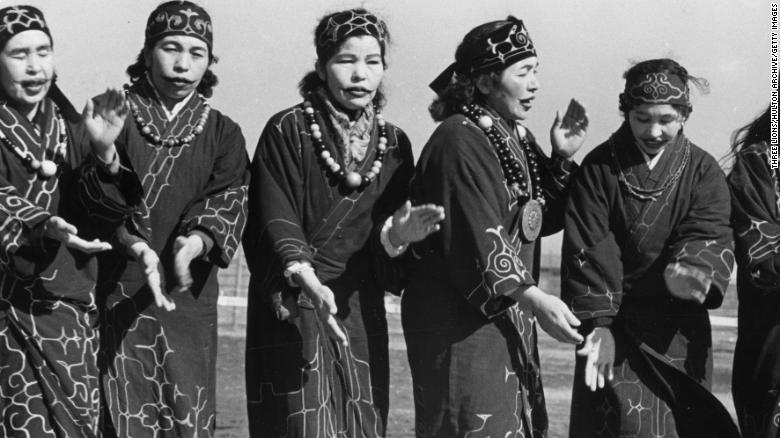Ainu people occupying parts of the Japanese island of Hokkaido, Russian Kuril Islands and Sakhalin, in about 1950.