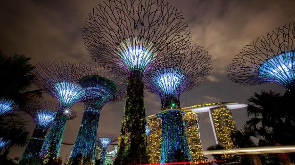 Singapore's Supertree Grove seen during a light show. The city state prides itself on its tech savviness, but this often goes hand in hand with heavy censorship.