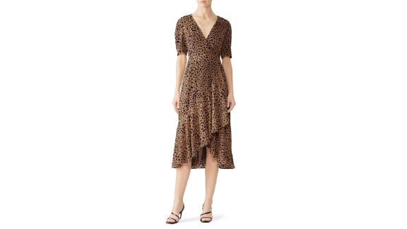 Fame & Partners Leopard High Low Wrap Dress (prices vary based on subscription; renttherunway.com)