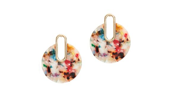 Slate & Willow Accessories Multi Resin Circle Earrings (prices vary based on subscription; renttherunway.com)