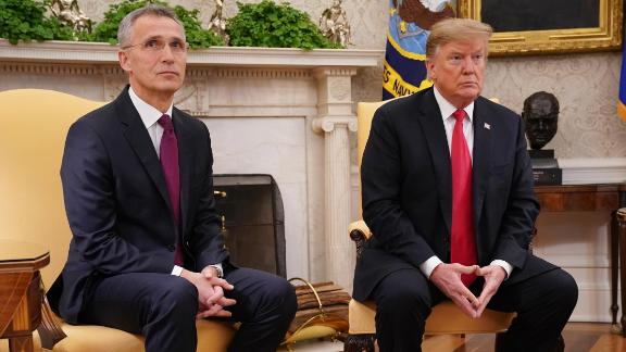 U.S. President Donald Trump and NATO Secretary General Jens Stoltenberg (L) talk to reporters in the Oval Office at the White House April 02, 2019 in Washington, DC.