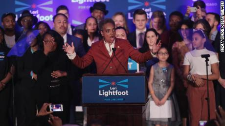 Lori Lightfoot delivers a victory speech April 2, 2019, in Chicago. She is the city's first black female mayor and its first openly gay mayor.