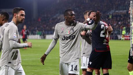 Juventus' Blaise Matuidi reacts after Kean scores