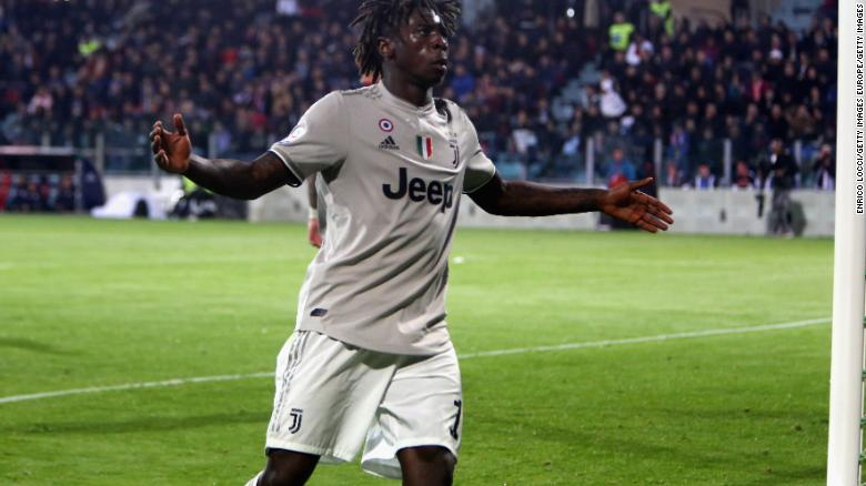 Kean celebrates scoring in the 85th minute.
