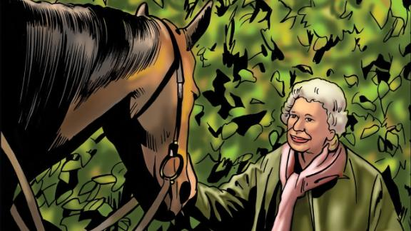 British monarch Queen Elizabeth II, an avid horsewoman and racehorse owner, also makes an appearance in the comic book. Here she is with her Gold Cup-winning horse, Estimate. The original painting of the Queen was commissioned by The Jockey Club, and can be found in The Jockey Club Rooms in Newmarket, England.