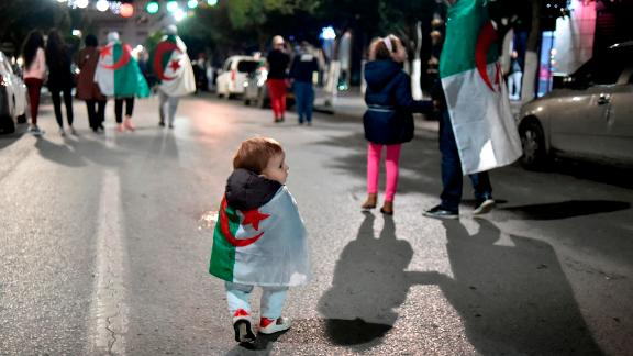 Many Algerians brought their children to celebrations on Tuesday night.