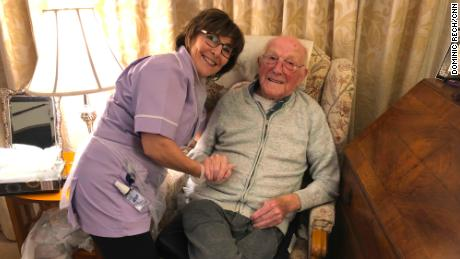Deborah Royston, an overnight care support crew for the community, with Harry Perkins.