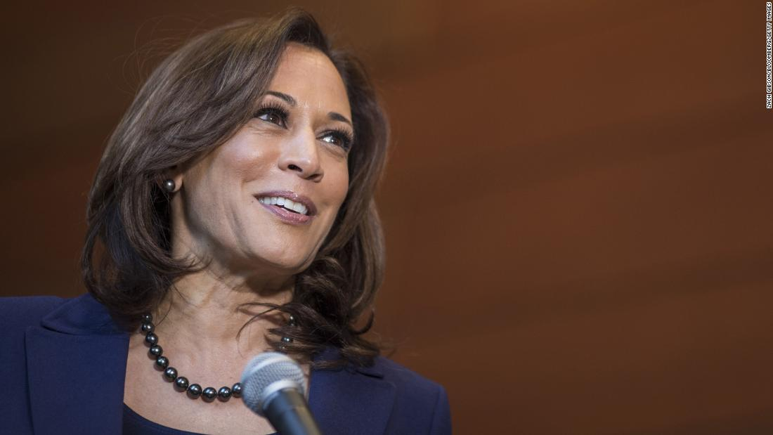 US Sen. Kamala Harris smiles during a news conference at Howard University in Washington in January 2019. Harris was announcing that she was running for president.