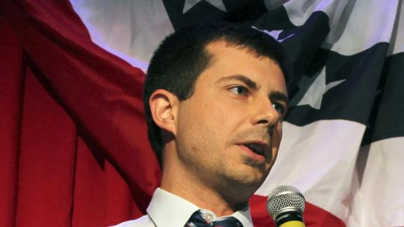 (FILES) In this file photo taken on September 26, 2016 Sound Bend Indiana Mayor Peter Buttigieg talks about Republican Vice-presidential candidate Mike Pence in front of potential voters at a Hillary Clinton debate watching party for the LGBT community in Chicago, Illinois. - He is a longshot candidate, but South Bend Mayor Pete Buttigieg said January 23, 2019 he is jumping into the burgeoning 2020 Democratic field challenging Donald Trump, aiming to become the first openly gay presidential nominee. Should he win, the 37-year-old wunderkind, a US Navy reservist who took leave from his mayoral duties to serve in Afghanistan, would also be America