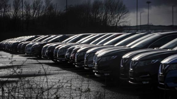 Nissan cars are pictured near the company's plant in Sunderland, England.