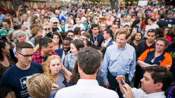 O'Rourke meets with supporters following a speech in Austin, Texas, in April 2017. O'Rourke announced that he would not be seeking re-election in 2018, choosing instead to run for the US Senate seat held by Republican Ted Cruz.