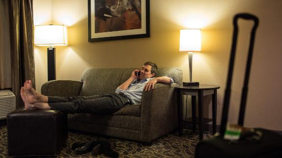 O'Rourke talks to his wife from a hotel room in Bay City, Texas, in February 2018.