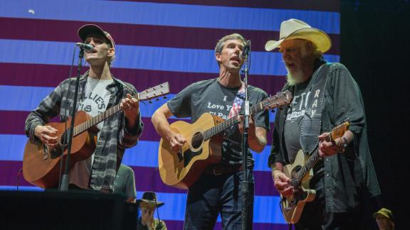 O'Rourke performs with Micah Nelson, left, and Ray Benson during the 45th annual Willie Nelson 4th of July Picnic in July 2018.