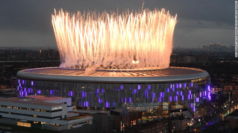 Fireworks explode above the new Tottenham Hotspur Stadium ahead of the Premier League match between Tottenham Hotspur and Crystal Palace at Tottenham Hotspur Stadium on April 03, 2019 in London, United Kingdom.
