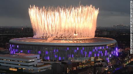 LONDON, ENGLAND - APRIL 03: Fireworks explode above the new Tottenham Hotspur Stadium ahead of the Premier League match between Tottenham Hotspur and Crystal Palace at Tottenham Hotspur Stadium on April 03, 2019 in London, United Kingdom. (Photo by Mike Hewitt/Getty Images)