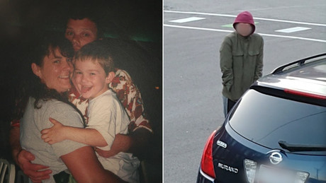 Timmothy Pitzen, shown in an undated photo with his mother Amy, disappeared in 2011. The photo at right is of the man spotted by Newport, Kentucky, residents
