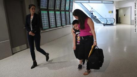 Seven-year-old Andy is reunited with his mother, Arely, at Baltimore-Washington International Airport on July 23, 2018.