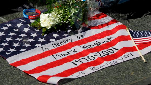 An item in memory of Mark Bingham at The Wall of Names at the Flight 93 National Memorial in Shanksville, Pa.
