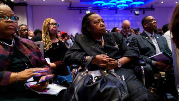 NEW YORK, NY - APRIL 3: Attendees listen to speakers at the National Action Network