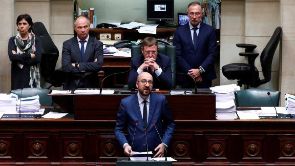 Belgium's Prime Minister Charles Michel delivers a speech at a plenary session of the Belgian Parliament in Brussels, Belgium, April 4, 2019.