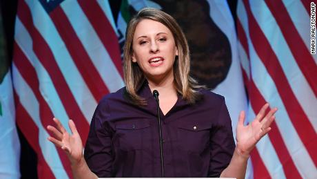 Democrat Katie Hill, who is running for Congress in California's 25th District, speaks at a campaign rally before the mid-term elections in Santa Clarita, California on November 3, 2018. - She will run against Republican incumbent Steve Knight. (Photo by Mark RALSTON / AFP)        (Photo credit should read MARK RALSTON/AFP/Getty Images)