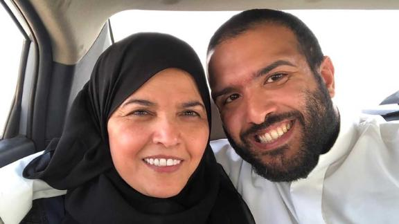 Salah al-Haidar and his mother Aziza al-Yousef in a car after a Saudi court granted her temporary release in March. Yousef is a prominent women's rights defender who spent nearly a year behind bars. Haidar was arrested on April 4, around two weeks after his mother's release.